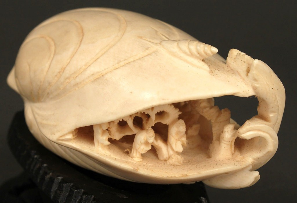 Lot 9: Chinese Ivory Carved Shell