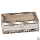 2 TIER RECTANGULAR JEWELRY BOX, ANTIQUE SILVERPLATE