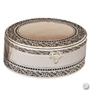2 TIER OVAL JEWELRY BOX, ANTIQUE SILVERPLATE