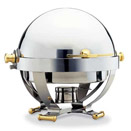 SATELLITE ROUND ROLLTOP CHAFER, GOLD ACCENTS,18/10 STAINLESS