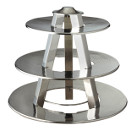 DISPLAY STAND, 3 TIER, HAMMERED FINISH STAINLESS