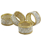 Gold Napkin Rings w/Crystals, Set of 4