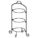 DISPLAY STAND, 3 TIER, BLACK WROUGHT IRON