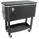 INUSLATED COOLER CART WITH STEEL BOTTLE OPENER & CAP CATCHER