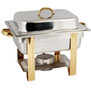 RECTANGULAR CHAFER, LIFT OFF LID, STAINLESS WITHGOLD ACCENT