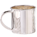 STERLING SILVER BABY CUP, PLAIN WITH CURVED HANDLE
