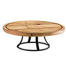 CAKE STAND, RECLAIMED WOOD AND A POWDER COATED BASE