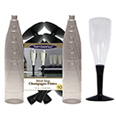 CHAMPAGNE FLUTE, 2 PC, BLACK STEM, DISPOSABLE PLASTIC, PKG/120