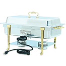 CLASSIC BRASS TRIM ELECTRIC CHAFER, LONG SIDE RECEPTACLE