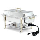 CLASSIC BRASS TRIM ELECTRIC CHAFER, SHORT SIDE RECEPTACLE