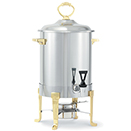 CLASSIC BRASS TRIM COFFEE URN, STAINLESS WITH BRASS TRIM