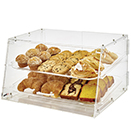 DISPLAY CASE  WITH FRONT AND REAR DOORS, 2 TRAY, ACRYLIC