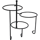 DISPLAY STAND, 3 TIER, TWISTED,  BLACK WROUGHT IRON