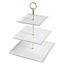 DISPLAY STAND WITH SQUARE SERVING TRAYS, 3 TIER