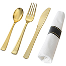 SERVING CUTLERY, GOLD DISPOSABLE PLASTIC