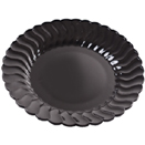 DINNERWARE, SCALLOPED EDGE, BLACK,  DISPOSABLE PLASTIC