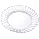 DINNERWARE, SCALLOPED EDGE, CLEAR, DISPOSABLE PLASTIC