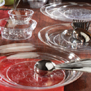 DINNERWARE, SCROLL DESIGN, CLEAR,  DISPOSBALE PLASTIC