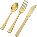 FLATWARE, GOLD DISPOSABLE PLASTIC