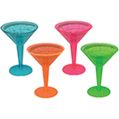 MARTINI GLASS, 2 PIECE, ASSORTED NEON, DISPOSABLE PLASTIC