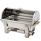 OBLONG ROLL TOP CHAFER, STAINLESS WITH GOLD ACCENT