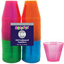 OLD FASHIONED TUMBLER, NEON COLORS, DISPOSABLE  PLASTIC, PKG/600