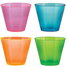 OLD FASHIONED TUMBLERS, NENO COLORS, DISPOSABLE PLASTIC, PKG/500