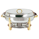 OVAL CHAFER, LIFT OFF LID, STAINLESS WITH GOLD ACCENT, 6 QT.