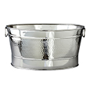 PARTY TUB, OVAL, HAMMERED FINISH STAINLESS STEEL