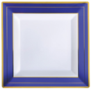 DINNERWARE, SQUARE PLATES, WHITE W/COBALT & GOLD TRIM, DISPOSABLE  PLASTIC