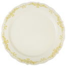 DINNERWARE, ROUND PLATE, BONE WITH GOLD, HERITAGE DESIGN, DISPOSABLE PLASTIC,