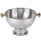 PUNCH BOWL WITG GOLD ACCENTS, 3.5 GALLON, STAINLESS