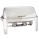 ADAGIO FULL SIZE RECTANGULAR ROLL TOP CHAFER, GOLD HANDLE, STAINLESS