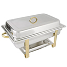 RECTANGULAR CHAFER, LIFT OFF LID, STAINLESS WITH GOLD ACCENT