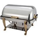 VINTAGE RECTANGULAR ROLL TOP CHAFER, GOLD ACCENT, STAINLESS