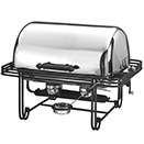 MESA RECTANGULAR ROLL TOP CHAFER, STAINLESS COVER, WROUGHT IRON TRIM