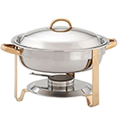 ROUND CHAFER WITH LIFT OFF LID, STAINLESS WITH GOLD ACCENT
