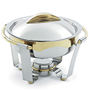 PANACEA™ ROUND CHAFERS, 24K GOLD ACCENTS, LIFT OFF LID, STAINLESS