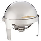 ADAGIO 7 QT. ROUND ROLL TOP CHAFER, GOLD HANDLE, STAINLESS