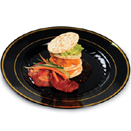 DINNERWARE, BLACK WITH GOLD BAND, DISPOSABLE PLASTIC
