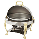 VINTAGE ROUND ROLL TOP CHAFER, GOLD ACCENT, STAINLESS