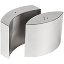 SALT & PEPPER SHAKERS, CURVED DESIGN, STAINLESS, SET/2
