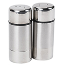 SALT & PEPPER SHAKERS, BRUSHED FINISH STAINLESS, SET/2
