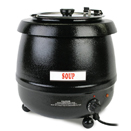 ELECTRIC SOUP KETTLE, HINGED LID, BLACK POWDER COATED