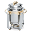 PANACEA™ SOUP MARMITE CHAFER, 24K GOLD ACCENTS, LIFT OFF LID, SS