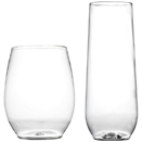 STEMLESS GLASSES, CLEAR DISPOSABLE PLASTIC