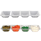 TRAY WITH 4 COMPARTMENTS, CLEAR,  DISPOSABLE PLASTIC, PKG/6