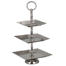 DISPLAY STAND WITH SQUARE SERVING TRAYS, 3 TIER, STAINLESS