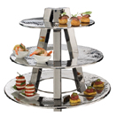 DISPLAY STAND, 3 TIER, HAMMERED STAINLESS