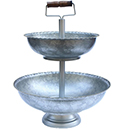DISPLAY STAND WITH GOLD BEAD EDGE BOWL, 2 TIER, GALVANIZED